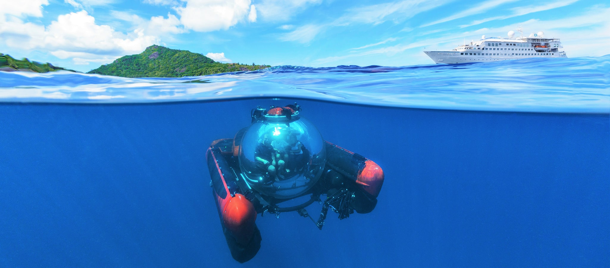 The so-called discovery yachts often carry submersibles that allow for whales watching, dive for wrecks and explore the utterly engrossing underwater world.