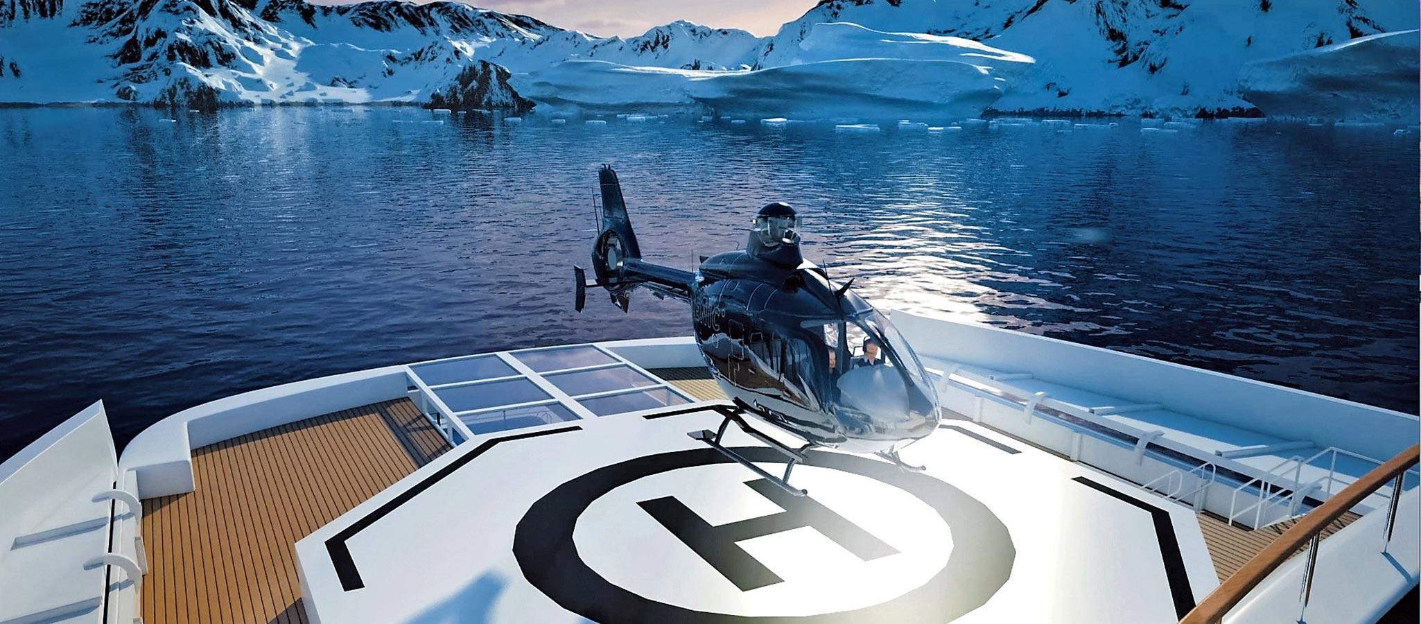 VIP-Gäste werden mit den bordeigenen Helikoptern eingeflogen.
