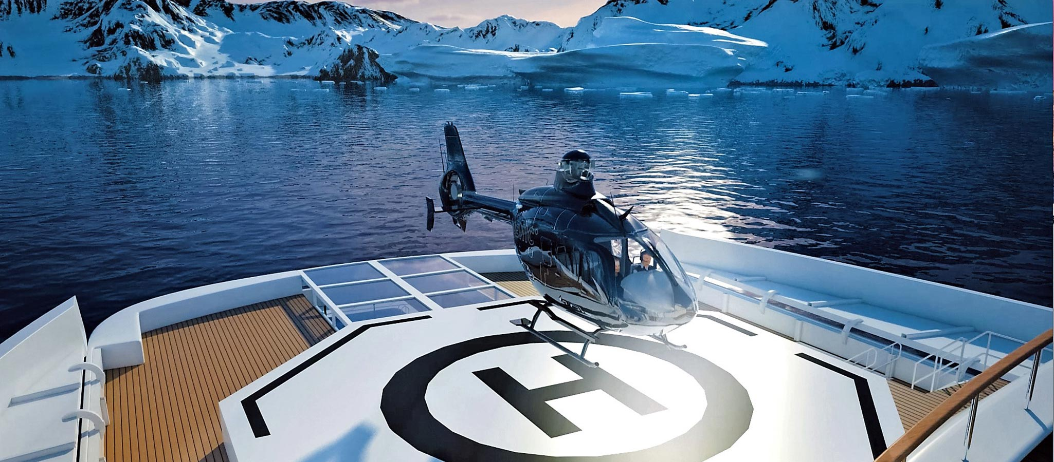 VIP guests can be flown in with on-board helicopters.