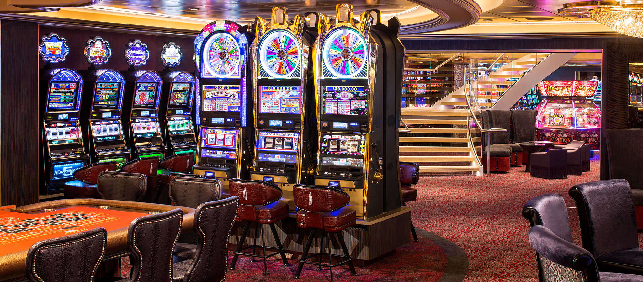 Of course, the giant all-in-one ships also have huge casinos – themed evenings can be brilliantly staged there.