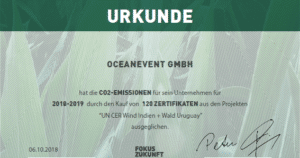 OceanEvent ist klimaneutrales Unternehmen