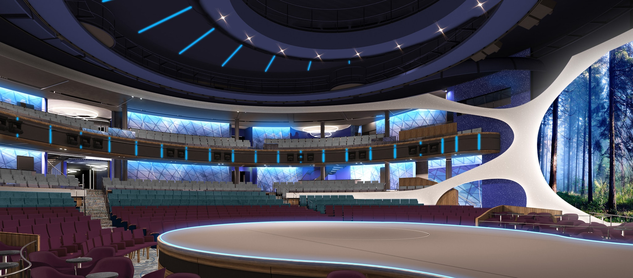 Conference Theaters feature cutting-edge sound, light and projection systems as well as crowd pleasing built-in décor.