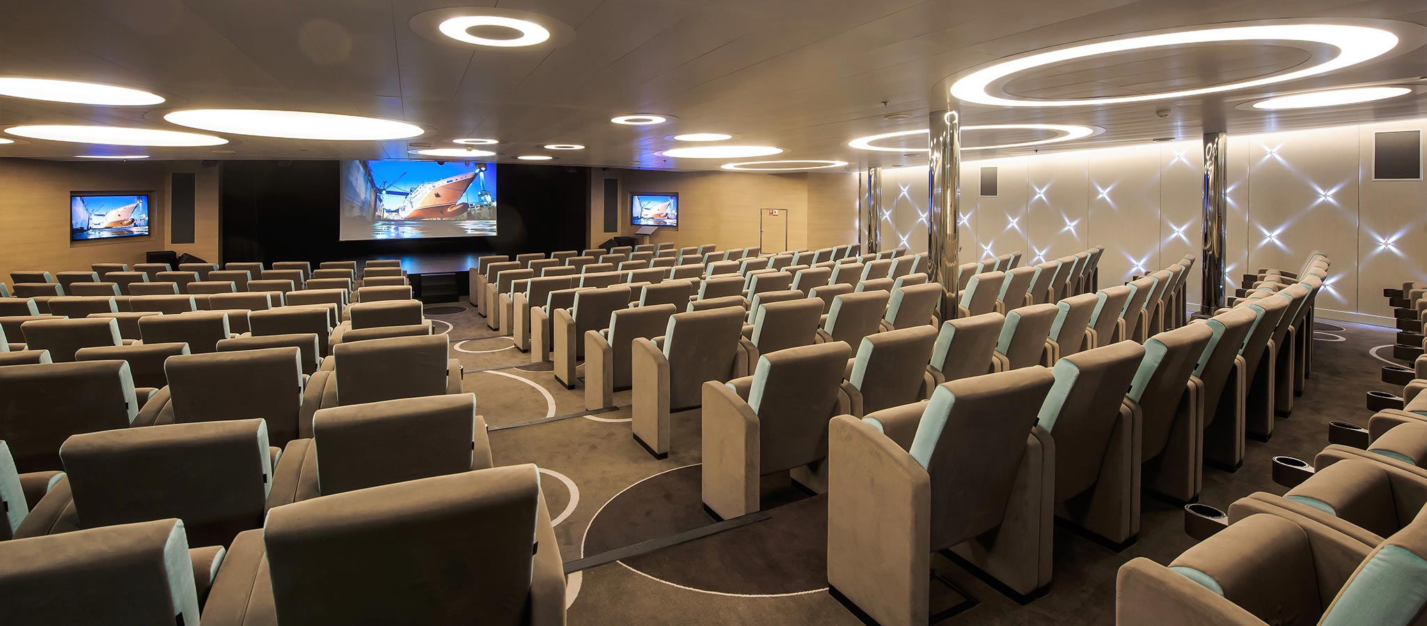 Conference ships are designed specifically for their purpose with show lounges usually accomodating all guests, plenty of break-out areas and state-of-the-art technical facilities.